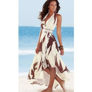 VENUS High-Low Belted Print Maxi Dress